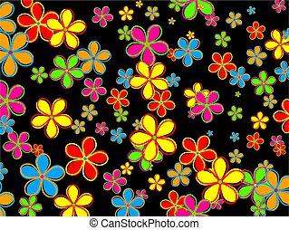 flor, desenho, retro, papel parede