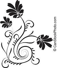 flor, diseño, elemento