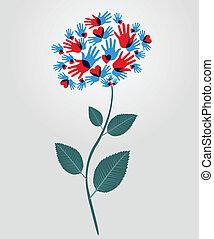 flor, diversidad, manos