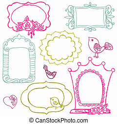 flor, doce, -, vetorial, doodle, bordas, pássaros, elementos