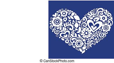 flor, e, videiras, valentines, coração