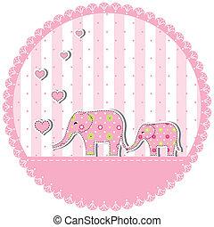 flor, elefante bebê
