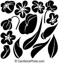 flor, elementos, c