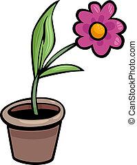 flor, em, pote, corte arte, caricatura, ilustração