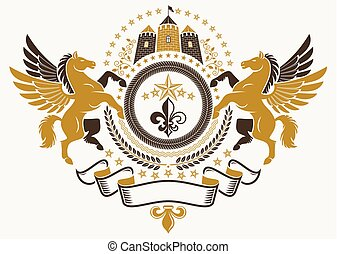 flor, emblema, medieval, creado, chamarra, heráldico, ...