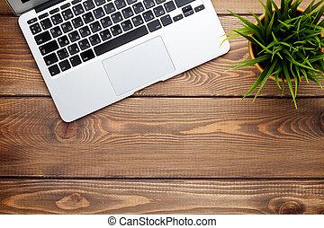 flor, escritório, computador laptop, escrivaninha, tabela