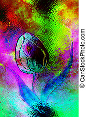 flor, espacio, effect., resumen, bailando, vidrio, motivo, collage, tulipán, plano de fondo