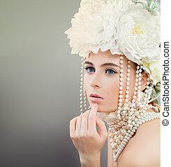 flor, estilo, retrato, de, hermoso, modelo, woman., joven, belleza