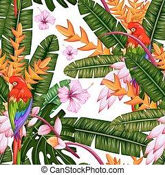 flor exótica, macao, patrón, seamless, tropical