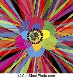 flor, experiência colorida, listras