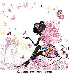 flor, fada, em, a, meio ambiente, de, borboletas
