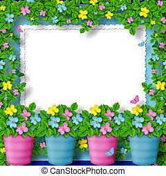 flor, felicitación, guirnalda, marco, saludo, o