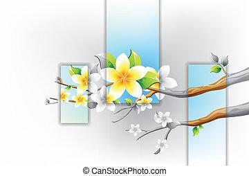 flor, filial árvore, coloridos, florescer