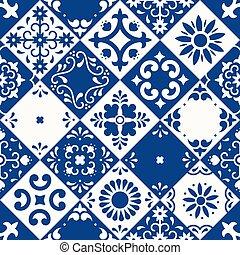 flor, folhas, cerâmico, clássicas, pattern., tradicional, povo, design., puebla., azul, talavera, estilo, seamless, azulejos, pássaro, arte, floral, mexicano, mosaico, ornamentos, white., majolica, méxico