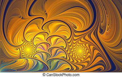 flor, folhas, ilustração, glowing, fundo, noturna, fractal