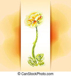 flor, fondo amarillo