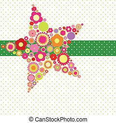 flor, forma estrela, cartão cumprimento