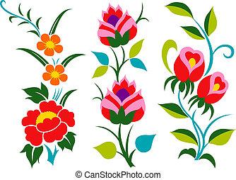 flor, frontera, gráfico, conjunto