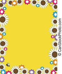 flor, frontera, lleno, margarita