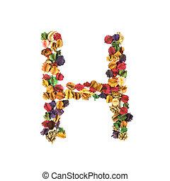 flor, fundo, alfabeto, isolado, secado, h, branca
