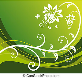 flor, fundo, verde