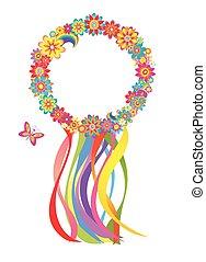 flor, grinalda, com, coloridos, tiras