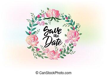flor, grinalda, convite casamento, cartão