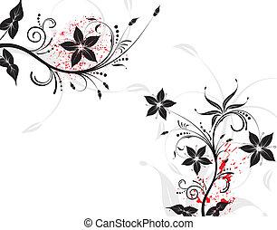 flor, grunge, fundo