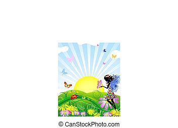 flor, hada, con, mariposas, en, el, pradera