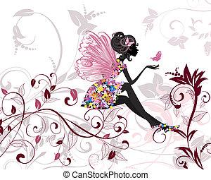 flor, hada, con, mariposas