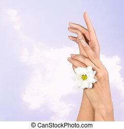 flor, hembra entrega