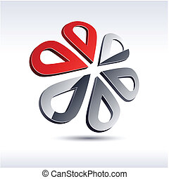 flor, icon., 3d, resumen