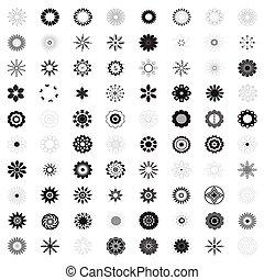 flor, icono, colección, de, flores, vector, ilustración