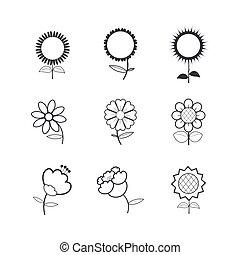 flor, iconos, blanco, plano de fondo