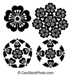 flor, Ilustración, japonés, estilizado,  sakura, simbolismo