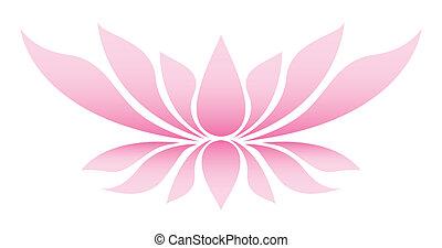 flor, ilustración, loto