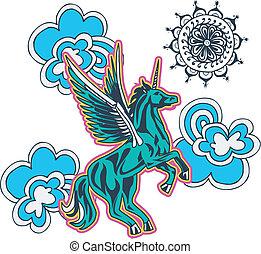 flor, ilustración, unicornio