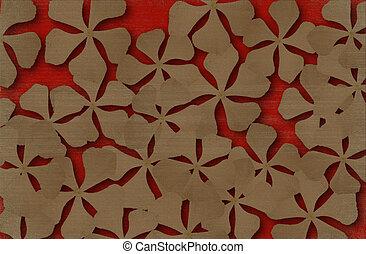 flor, impresión, en, rojo, acanalado, plano de fondo