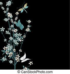 flor, insectos, vector