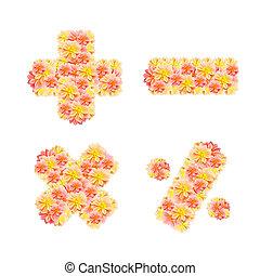 flor, ), (, +, *, -, isolado, /, alfabeto, branca