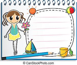 flor, jovem, caderno, segurando, menina, desenho