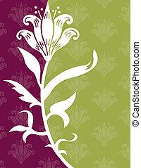 flor, ligado, um, verde, e, experiência roxa