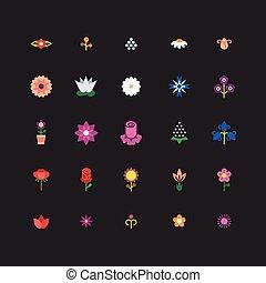 flor, linear, ícones, cores brilhantes, vetorial, floral