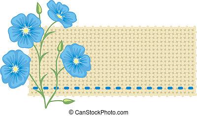 flor, linen., linho, pedaço
