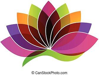 flor, logotipo, loto