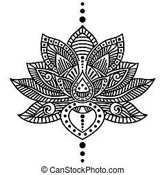 flor, loto, tatuaje