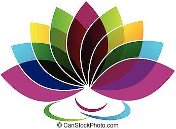 flor lotus, cartão identidade, logotipo
