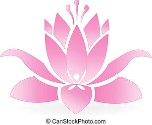 flor lotus, e, homem ioga, logotipo
