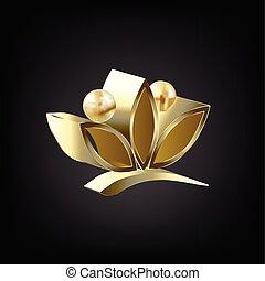 flor lotus, ioga, logotipo