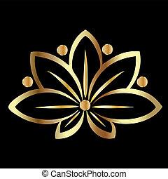 flor lotus, ouro